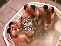 Three twink couples suck in jacuzzi