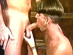 Young man licking phallus and asshole of his spouse