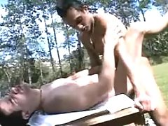 Tender fruit adorers engulf dicks and fuck in the park