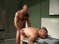 Hairy man drills doctor in doggy style