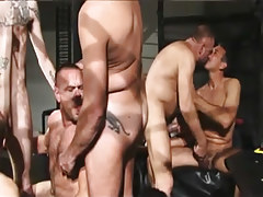 Hairy mature gay gentlemen suck each other in group sex