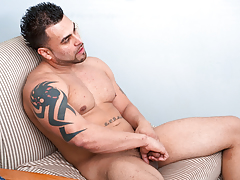 Sexually excited Latino stud jerks his immense cock until her cums hard