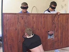 Gang of amateur gays have group dick sucking fun in the barn
