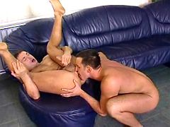 Well hung gentlemen have fiery assfuck on leather mattress