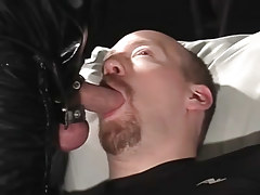 Cocksucking bear rob benefits from sperm on his neatly trimmed goatee in 3 video