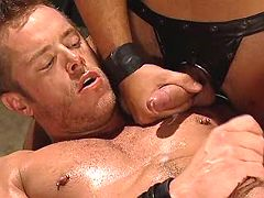 Stud getting tight ass fucked with dong and dildo