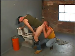 Janitor sucks and fucks a redneck in 1 movie
