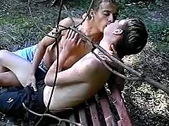 Guys secluded in park to full around blowjob