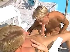 Boys having oral sex liking on vacation
