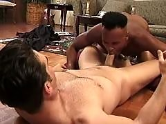 Gay shoves ramrod in inflexible black crack slit