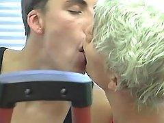 Three damp gay guys lick and sucks in gym