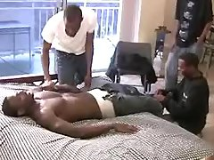 Handsome ebony chaps want group copulation