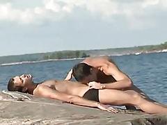 Sexy homo greedily chops cock on island