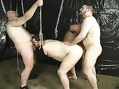 Fat twinks fuck each other in orgy