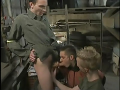 Two gay studs suck enormous knob by turns