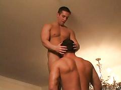 Gay hunk sucks heavy cock