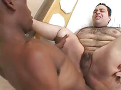 Ebony fellow drills unshaved males backdoor