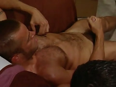 Hairy gay dude masturbates at get-together