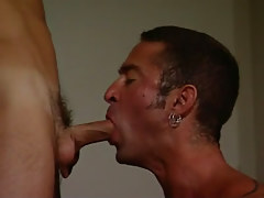 Mature gay gullets chaps appetizing knob
