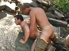 Gay fisherman massive humps hunk behind in nature