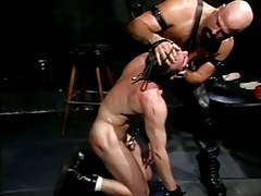 Mature curly homosexual torments impish guy