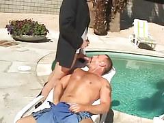 Bear grown twink sucks appetizing jock by pool