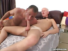 Bear parent sucks tasty studs cock