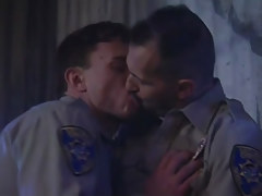 Horny policemen play with tongue every other