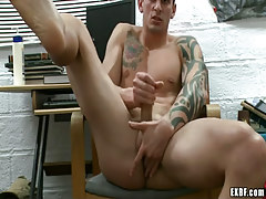 Lusty male plays with cock and fingering enter gate
