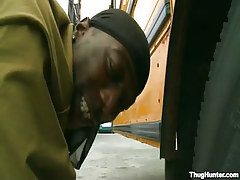 Black homo fucked behind by school bus