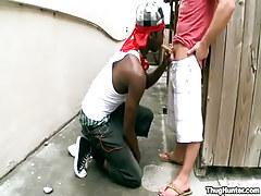 Interracial faggot gay guys engulf outdoor