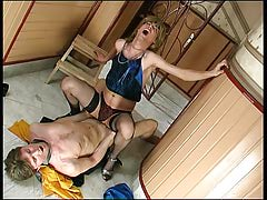 Sex-addicted sissy boy getting his eager fuckhole pushed with strapping meat