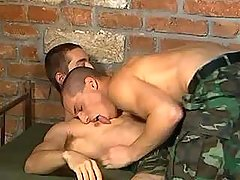 Handsome army boyish sub cums on his partner later on oral