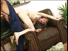 Homosexual plumber uses his fleshy pipe to fill a str8 guy's mouth and taut waste
