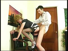 Upskirt faggot feminized male in limp  giving head and getting group-fucked from behind
